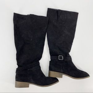 Justfab tall faux suede black boots perforated